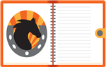 notebook with horse picture