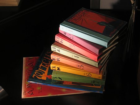 Harry Potter books in a stack