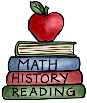 A green reading book, a red history book and a blue math book with an apple on top.